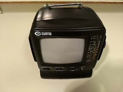 "Curtis 5"" Portable Black & White TV  AM/FM Radio RT068-Tested and working"