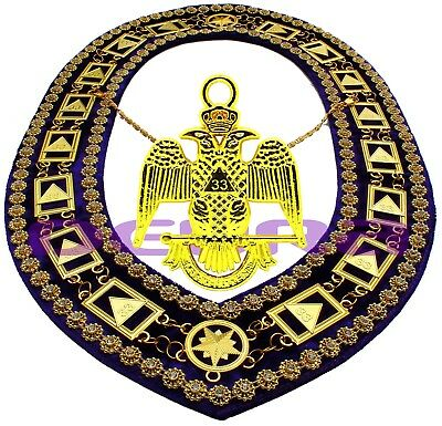 Masonic Collar DELUXE 33rd DEGREE SCOTTISH RITE PURPLE Backing + JEWEL DMP200