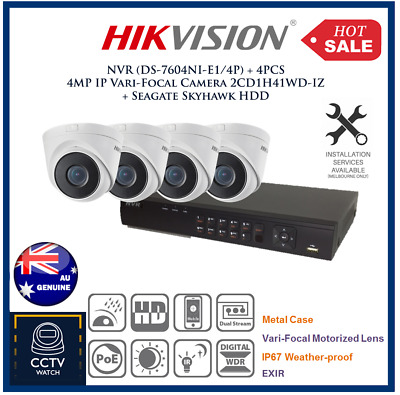 HIKVISION Kits, 4 Channel NVR (DS-7604NI-E1/4P)+ 4 PCS 4M IP Vari-Focal Camera