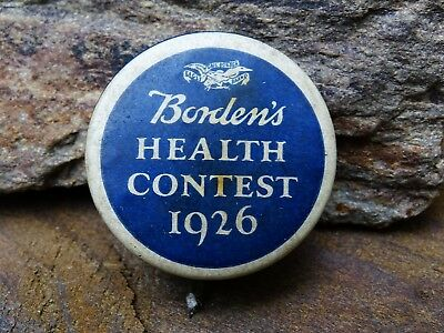 Rare 1926 Borden's Health Contest Pinback Button - Very Scarce With Nice Colors