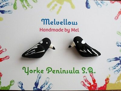 Magpie earrings Melvellous polymer clay