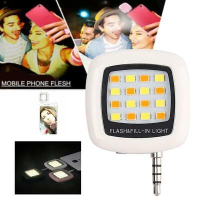 16 LED Camera Selfie Fill Flash Light 3.5mm For Android IOS iPhone 5s 6 White GL