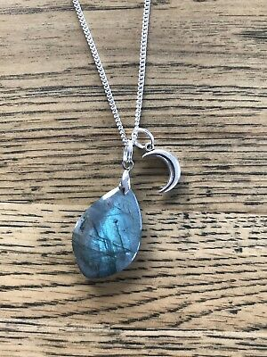 """Stunning Labradorite moonstone with moon pendant long silver 30"""" necklace"""