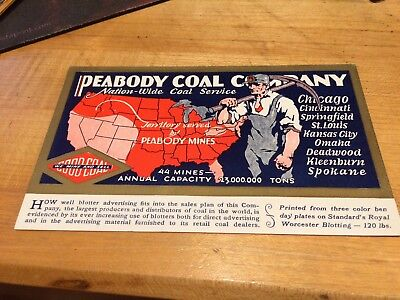 "Advertising Paper Blotter "" Peabody Coal Co."""