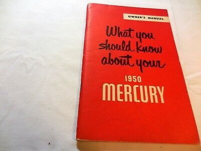 Original 1950 MERCURY  Owner's Manual late-year revision, brochure catalog