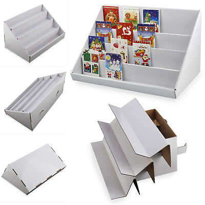 New 2 X 4 Tier White Collapsible Cardboard Greeting Card Display Stand Counter