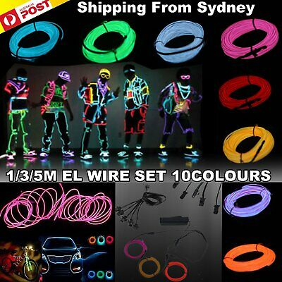 1/3/5M EL Wire Flexible Neon Glow Light Glasses Rope With Power Pack Dance Party