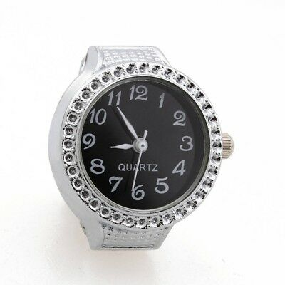Ring Watch Quartz Silver Alloy Black Sphere For Women Dame G8W9