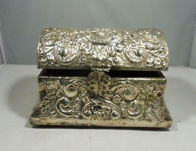 Antique  Spanish Colonial Hammered Silver Over Wood Casket Box