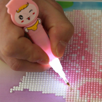 5D Painting Diamond Rhinestone Stitch LED Light Pen DIY Embroidery Craft Tools