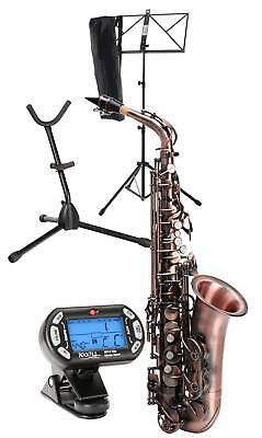 Classic Cantabile Winds As-450 Altsaxophon Antique Red Stimmgerät Stativ Case