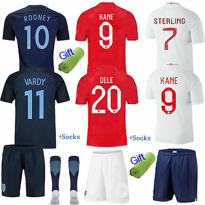 New Football Soccer Kit Short Sleeve Sportswear Jersey Kids Boys Youth+Socks