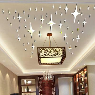 50X Mirror Stars 3D Art Removable Wall Stickers Kids Room Bedroom Home Decor LH