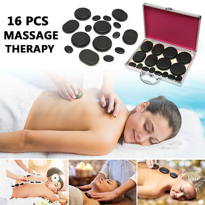 16Pcs Hot Basalt Stones For SPA Massage Therapy With Heating Box Set Skin Relief