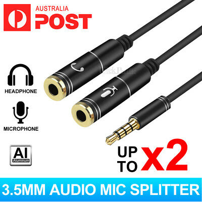 3.5mm Stereo Audio 2 Female to Male AUX Headphone Mic Y Splitter Cable Adapter