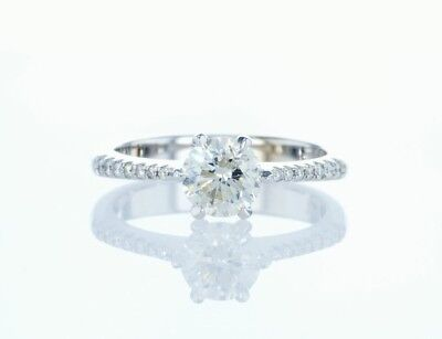 DIAMOND ENGAGEMENT RING 1.08 Ct NATURAL ROUND BRILLIANT 18k WG WOMEN'S COLOR I