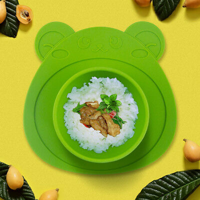 Cute Silicone Happy Mat Baby Kids Suction Table Food Tray Placemat Plate Bowl FF