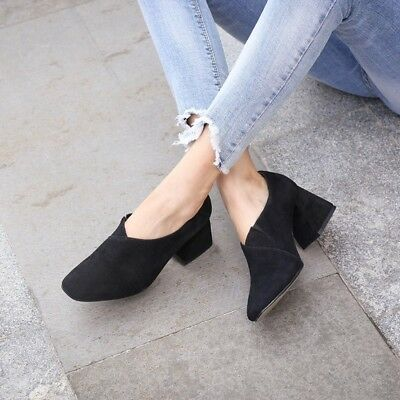 Womens Comfy Mid Block Heels Slip On Shoes Square Toe Casual Fashion Pumps  Size