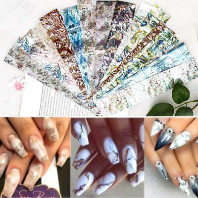 Gradient Marble Shell Design Nail Art Foil Transfer Decal Sticker Decoration HOT