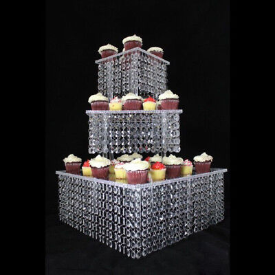 3 Tier Crystal Party Cake Stand Square Chandelier CakeStand Wedding Table Decor;