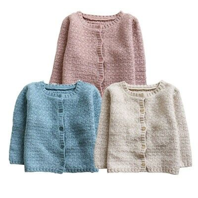 Baby Kids Boy Girl Knitted Cardigan Sweater Toddler Warm Coat Tops Outwear 6M-3Y