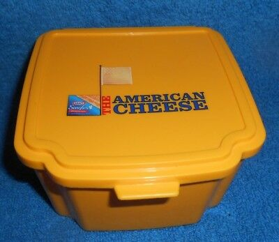 Vintage Kraft Singles Cheese Slices American Plastic Square Storage Container & VINTAGE KRAFT SINGLES Cheese Slices American Plastic Square Storage ...