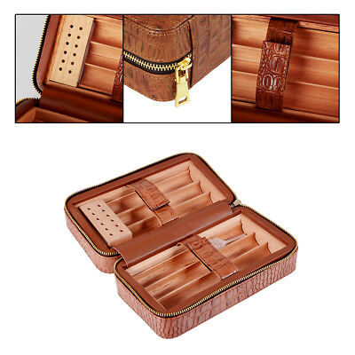 6 Count Brown Leather Spanish Cedar Lined Cigar Travel Hydrating Case Humidor