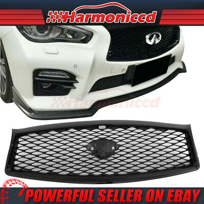 Fits 14-17 Infiniti Q50 Sedan Rouge Style Front Hood Grille Grill Gloss Black