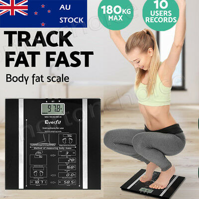 Everfit Digital Body Fat Scale Fat Bone BMI GYM Weight Glass Water LCD Electro