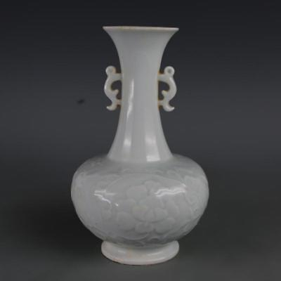 Ancient Antiques Chinese Shadow glaze porcelain Engraving binaural bottle