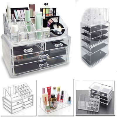Acrylic Makeup Case Cosmetic Organizer Drawer Holder Clear Storage Boxes Jewelry