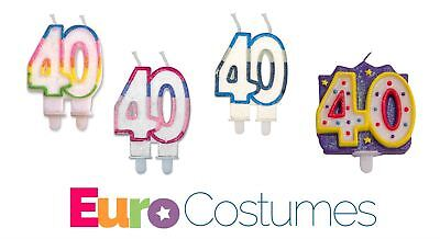 40th Age 40 Birthday Candle 4 Designs Anniversary Party Celebration Cake Topper