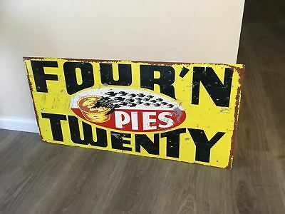 Four N Twenty Pies with  BLACK  Birds Metal Sublimated Sign  Great Reproduction