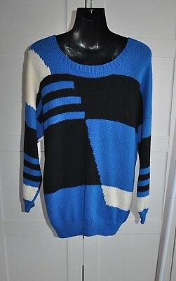 Vintage 80's HAND KNITTED Geometric Print Jumper