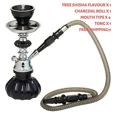 Blue Pumpkin Hookah Water Pipe with Free Flavour, Charcoal, Mouth Filters