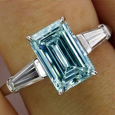 Emerald 3 Ct Fancy Blue Moissanite Engagement 925 Sterling Silver Forever Ring