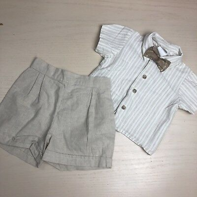 Vintage Michael James Baby Boy Linen Shirt Shorts Set 12 Months Bow Tie Tan