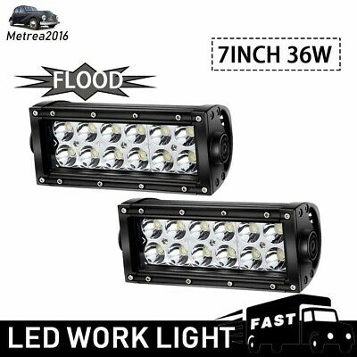 2X 7Inch 36W Bumper Led Work Light Bar Fog Lamp Flood Beam Offroad Ute Truck 4Wd