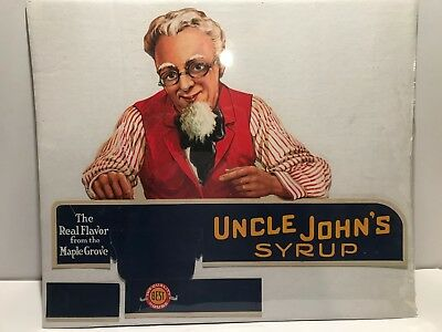 Uncle John's syrup, Vintage Advertisement, Quality House Seal