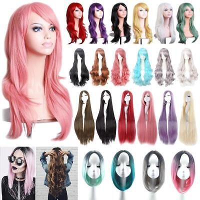 Ladies Women Long Hair Full Wig Natural Curly Wavy Straight Synthetic Cosplay