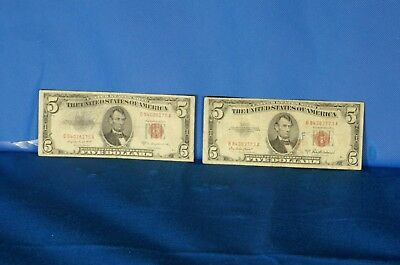 1953 A&B $5 US Red Seal Notes