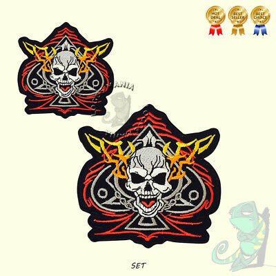 Ace of Spades Skull Biker Fire Iron On Sew On Embroidered Patch