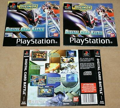 Digimon Digital Card Battle Ps1 Manual & Inlays Front & Rear No Case Or Disc