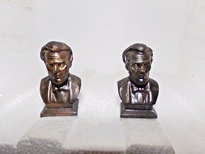 Lincoln Souvenir Gettysburg PA Bronze Metal Salt and Pepper Shakers Vintage   Ao