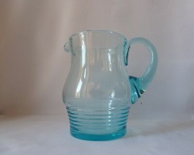 Art Deco Blue Uranium Glass Jug Pitcher, Probably By Stuart, h18cm (2 Pints)