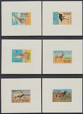 XG-BA026 NIGER IND - Wwf, 1978 Wild Tiere, 6 Deluxe Proof Blätter MNH