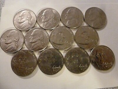 12 Coins! 6 Different Styles 2000-2009  P (Philadelphia  Mint) Jefferson Nickel