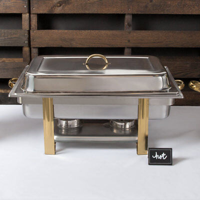 Choice Deluxe 8 Qt. Stainless Steel Full Size Gold Accent Chafer Chafing Dish