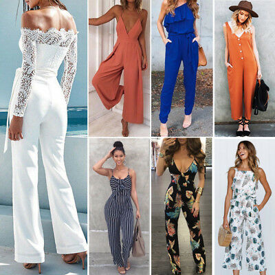 Womens One Shoulder Ripped Jumpsuit Ladies Evening Party Playsuit Size 6-14 Lot