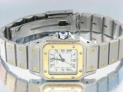 CARTIER SANTOS LADIES STEEL & GOLD AUTOMATIC WATCH - CARTIER WATCH VINTAGE w/BOX